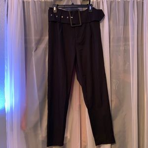 Black super high waisted trousers with belt